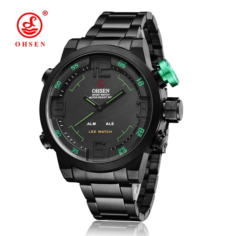 e1937b1c8b8 Barato Original OHSEN Military Watches Men Sports Full Steel Quartz Watch  Luxury Brand Waterproofed Diver Diving Watch Free Shipping