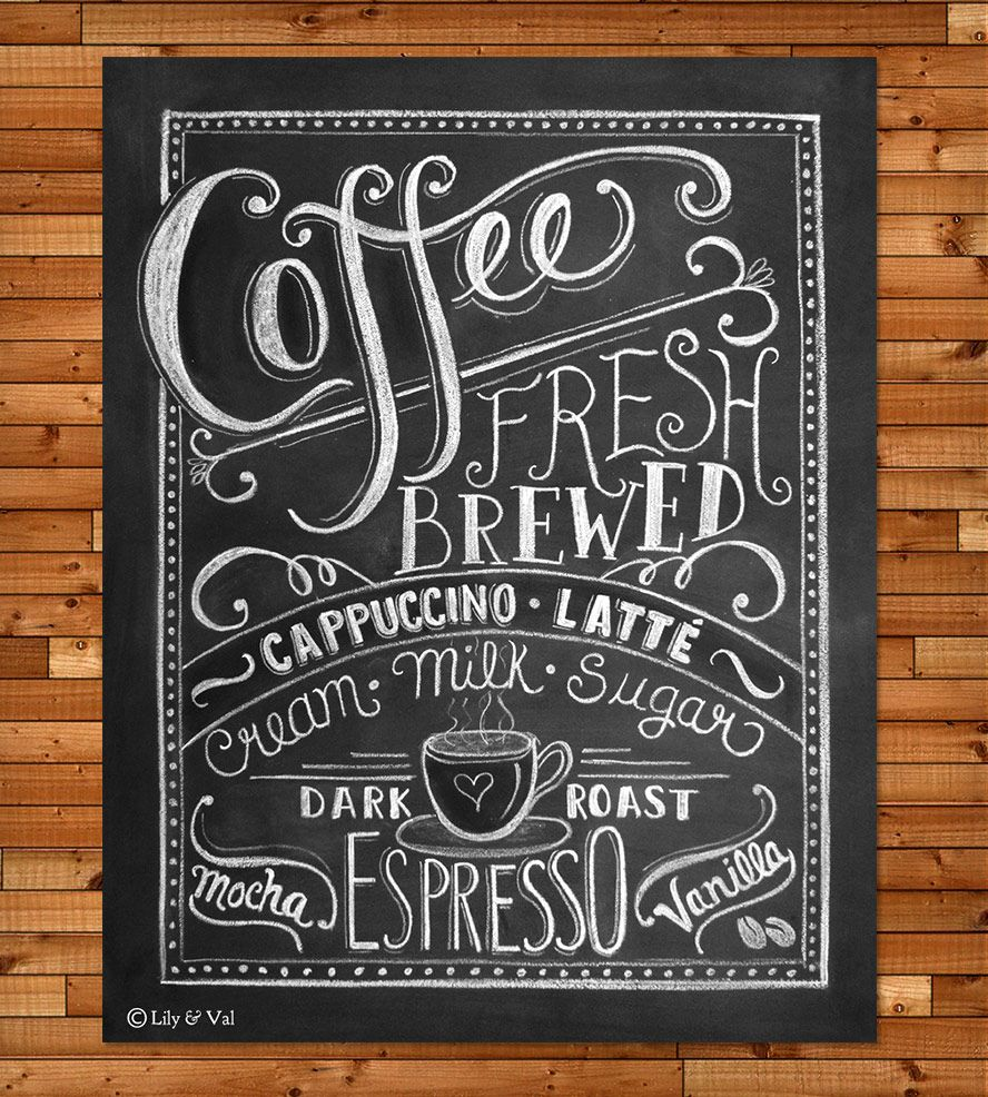 Coffee Love Chalkboard Art Print - 11x14 | Chalkboards ...