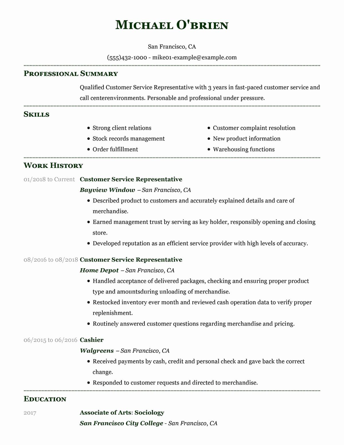 25 Customer Service Resume Template Free In 2020 Customer