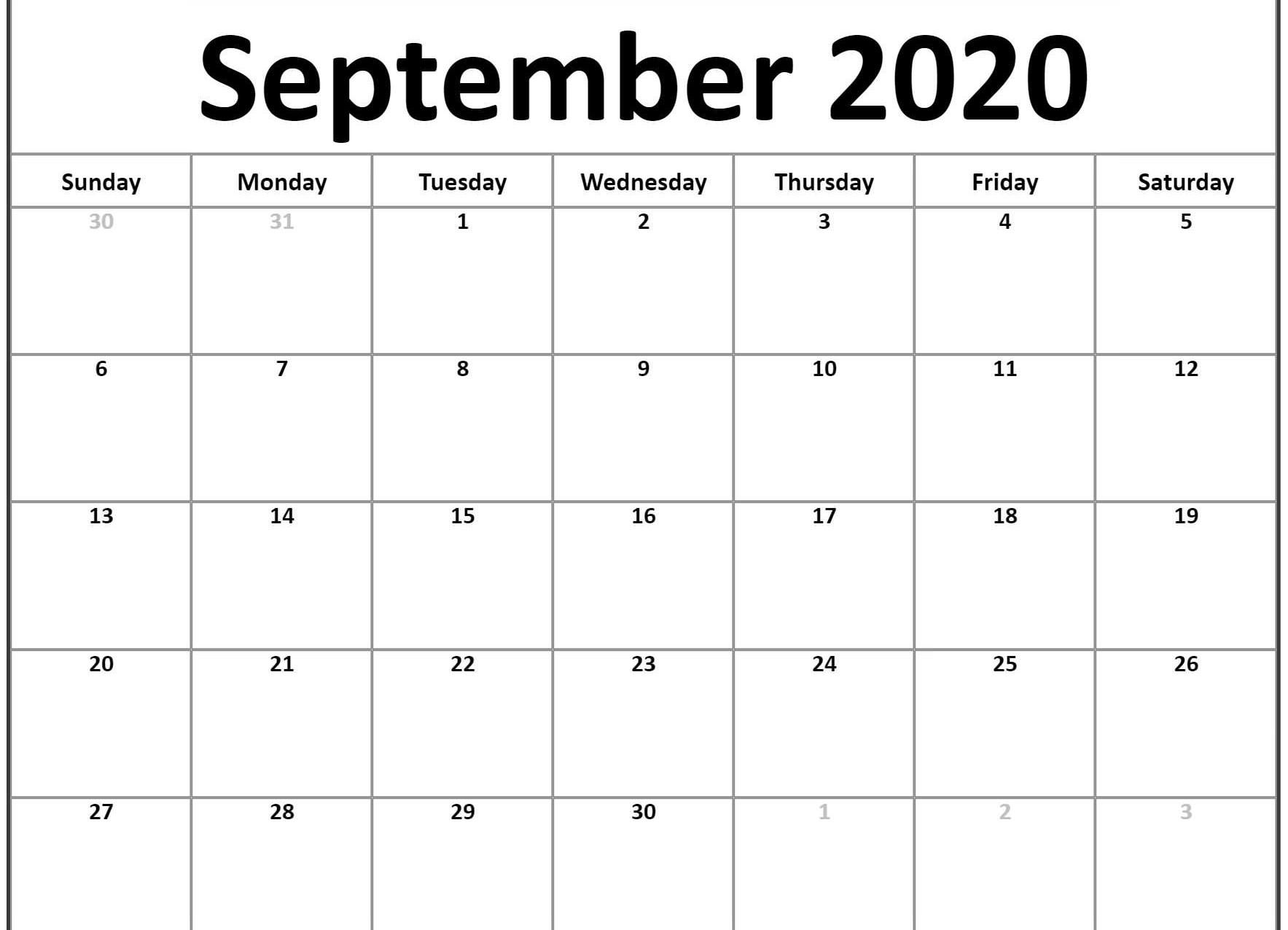 Free Blank September Calendar 2020 Printable Template In 2020