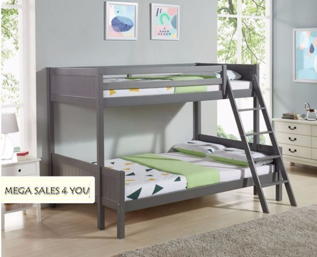 Best Kids Grey Bunk Bed Solid Wood Small Double 4Ft Single 3Ft 640 x 480