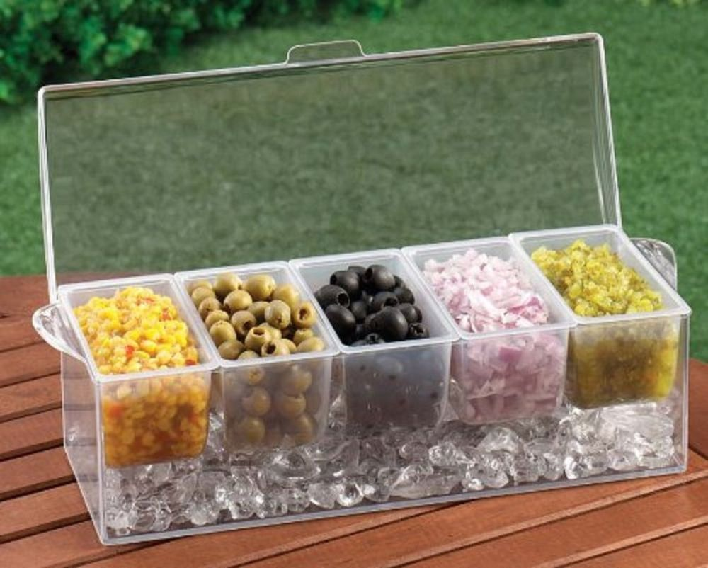 Chilled Condiment Container Server W// 5 Compartments Removable Ice Tray Buffet
