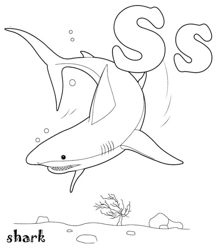 S For Shark Coloring Pages Shark Coloring Pages Shark