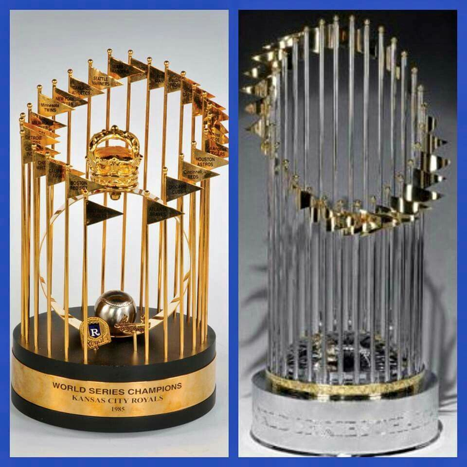 1985 World Series Trophy And 2015 Trophy Kansas City Royals Kansas City Royals Baseball Kansas City Baseball Kansas City