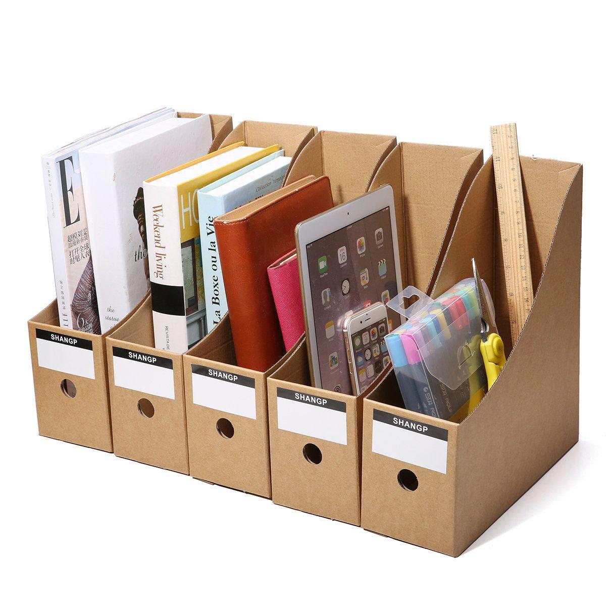 5 File Storage Box File Folder Frame Office Kraft Paper Table Storage Box Stationery Storage Storage Paper Organization