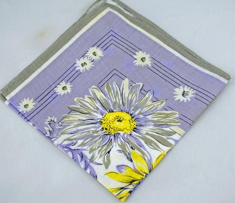 Bright Yellow and Lavender Floral Vintage Hankie, Great For Gifting, Crafting Sewing Collage or for Use Lot T40 - Two Broads and a Shop - 1