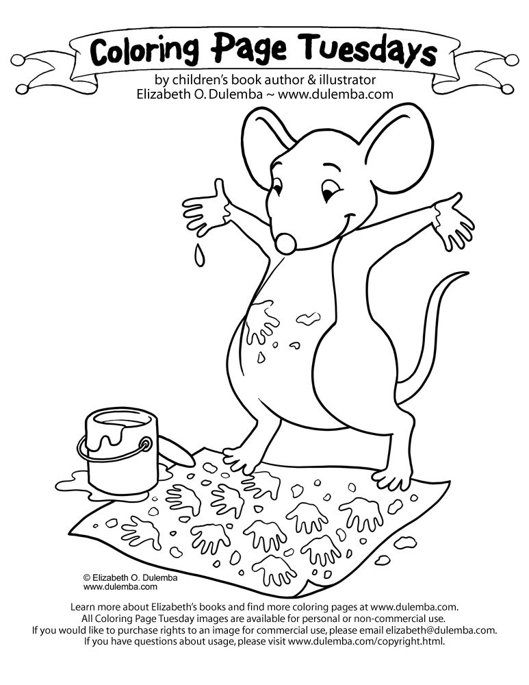 Coloring Page Tuesday Painting Mouse Coloring Books Coloring