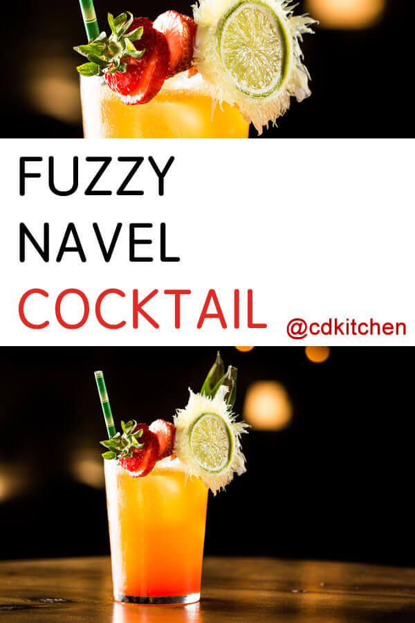 Fuzzy Navel Cocktail - This classic cocktail is made with vodka, orange juice, and peach schnapps. You can substitute a splash of grenadine for the cranberry juice if desired. Made with peach schnapps, orange juice, vodka, cranberry or raspberry juice, lime juice | CDKitchen.com