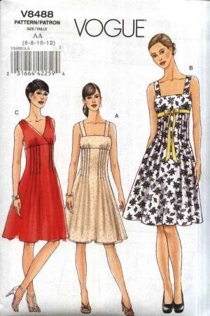 Vogue Sewing Pattern 8488 Misses Size 14-20 Easy Raised Empire Waist Sleeveless Summer Dress