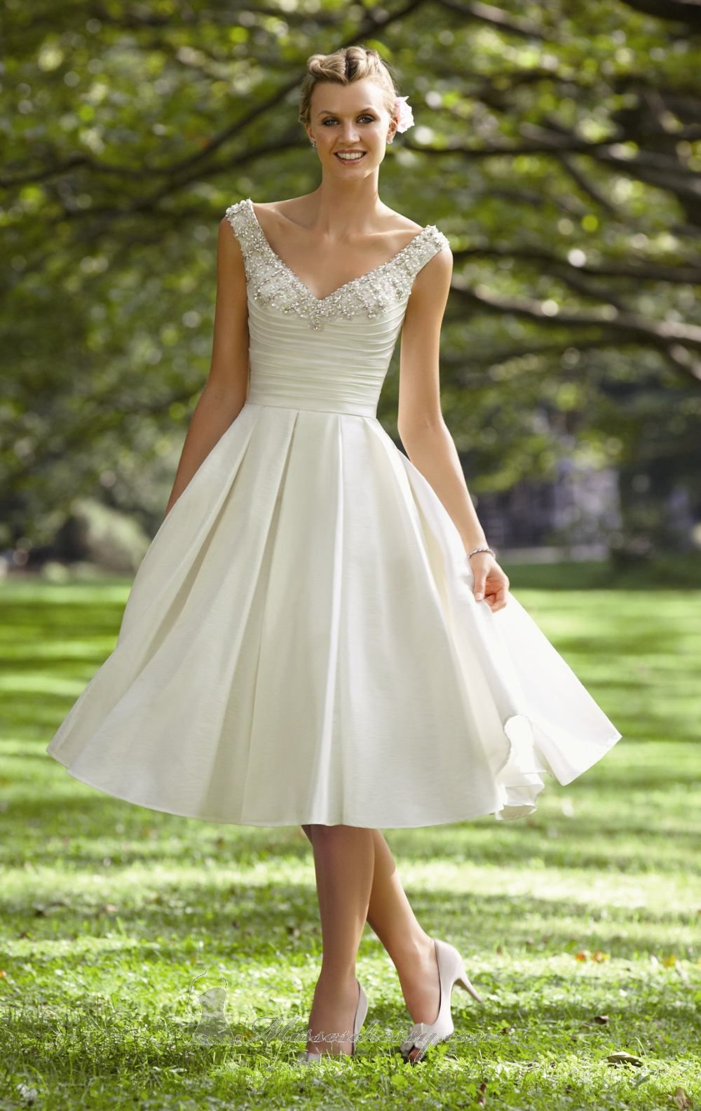 A line straps tea length satin bridal wedding bridesmaid prom dress