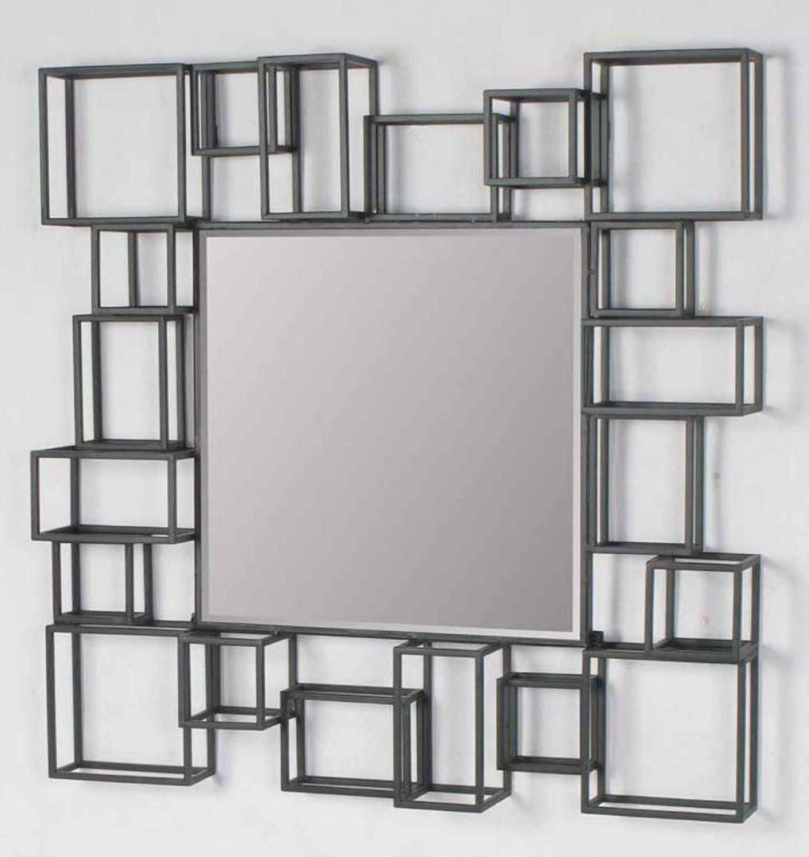 Amazon Com Large Modern Geometric Square Decorative Art Decor Metal Frame Wall Mirror Wall Mounted Mirr Frames On Wall Framed Mirror Wall Large Wall Mirror