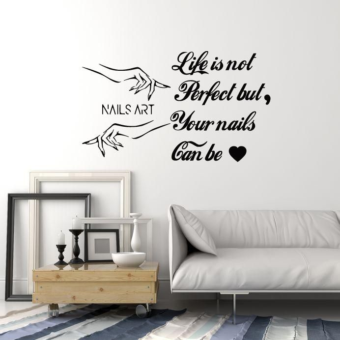 Nails Art Vinyl Wall Decal Nail Salon Quote Polish Manicure Hands ...