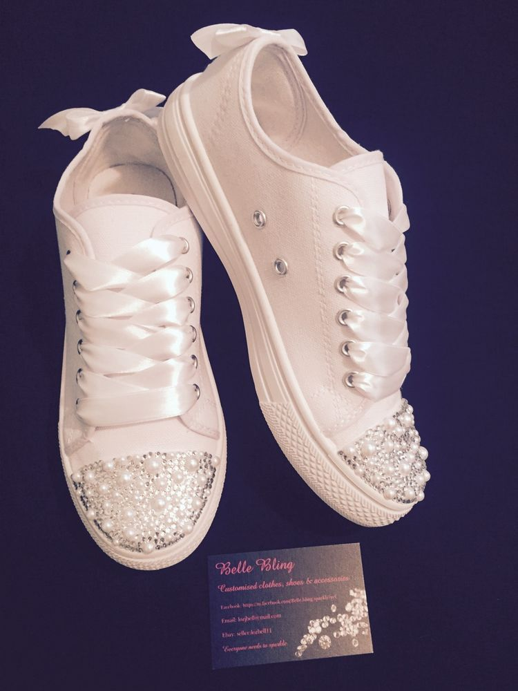 14551a8ad35d Wedding Bridal Pumps Trainers Customised Personalised Bling Crystal 3 4 5 6  7 8 in Clothes
