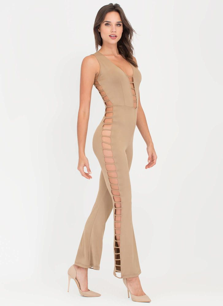 05088df1972 Rung Number Caged Flare Jumpsuit MOCHA BLACK - GoJane.com