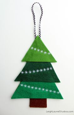 Felt Tree Ornament with Decorative Machine Stitching