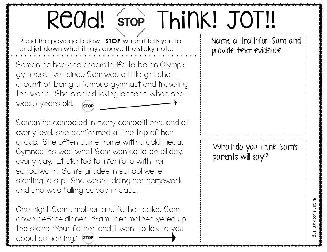 Reading Comprehension Passages And Questions 3rd Grade With Stop