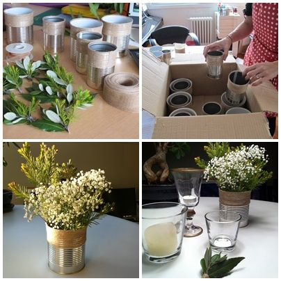 Latas con arpillera buscar con google casamiento ambientaci n y centros de mesa hippie - Decoracion vintage reciclado ...