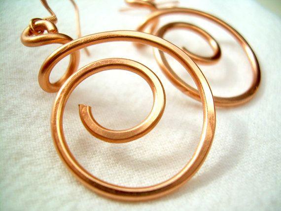 Copper Jewelry Copper Earrings Copper Spiral Earrings Copper Wire ...