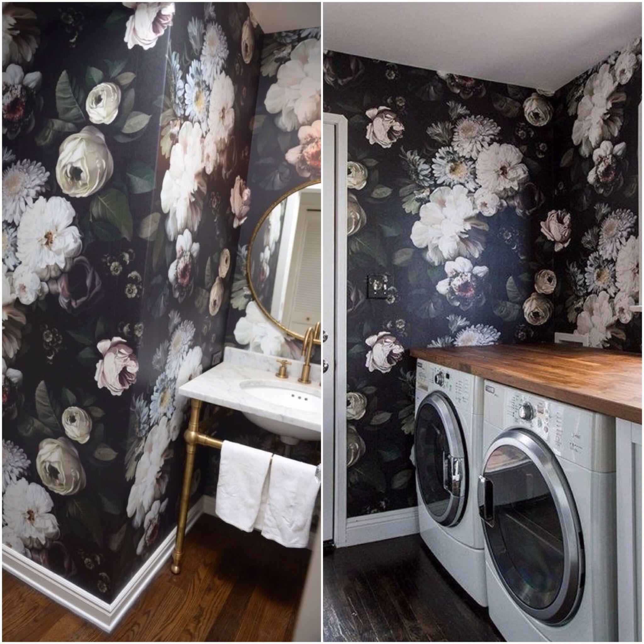 Floral Wallpaper In Bathroom Laundry Room Appartment Pinterest - Porte placard coulissante jumelé avec serrurier bourg la reine
