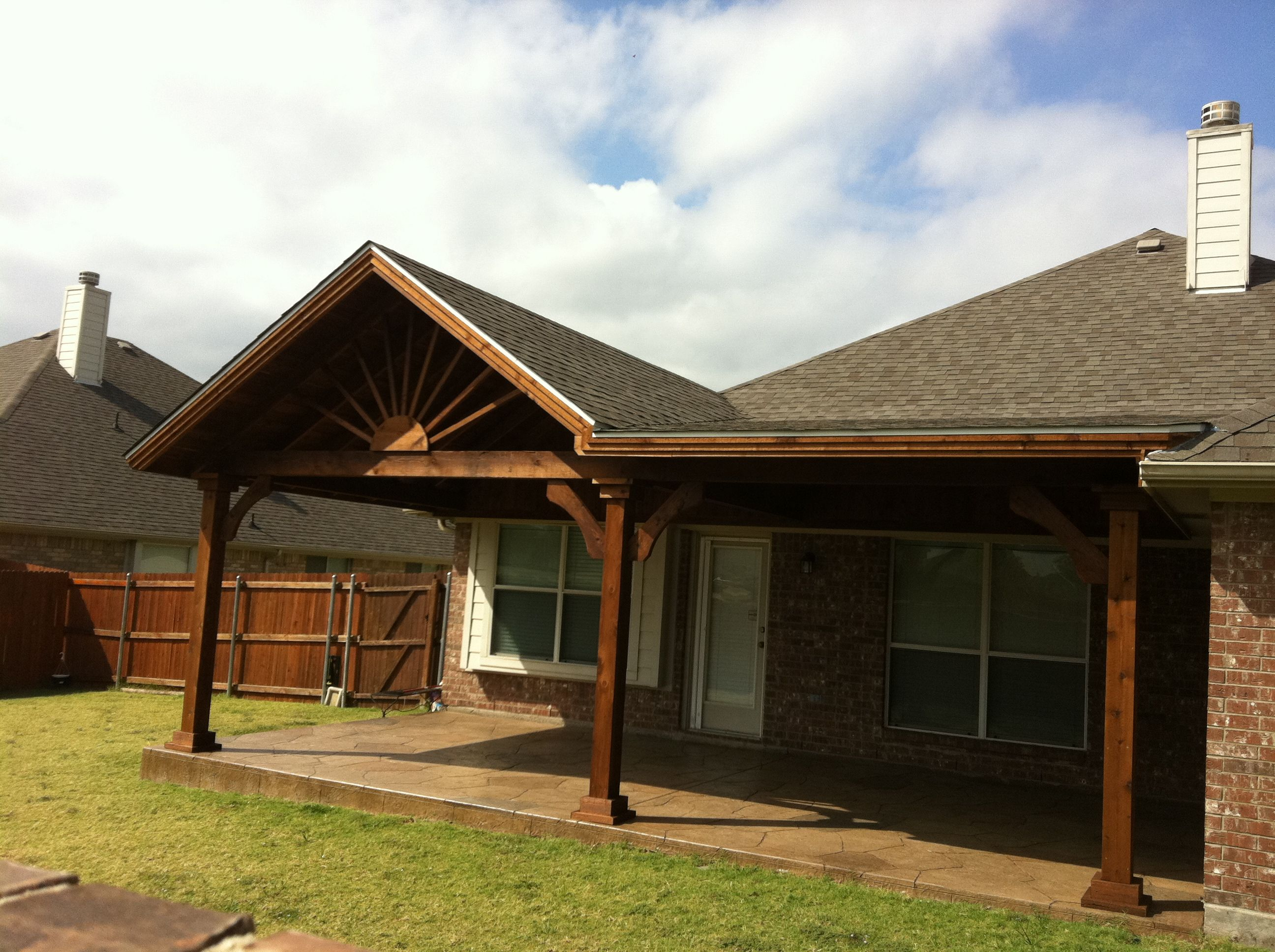 A Frame Patio Cover With Flat Cover Off Side Stamped Concrete Patio Under Backyard Fireplace Covered Patio Porch Patio
