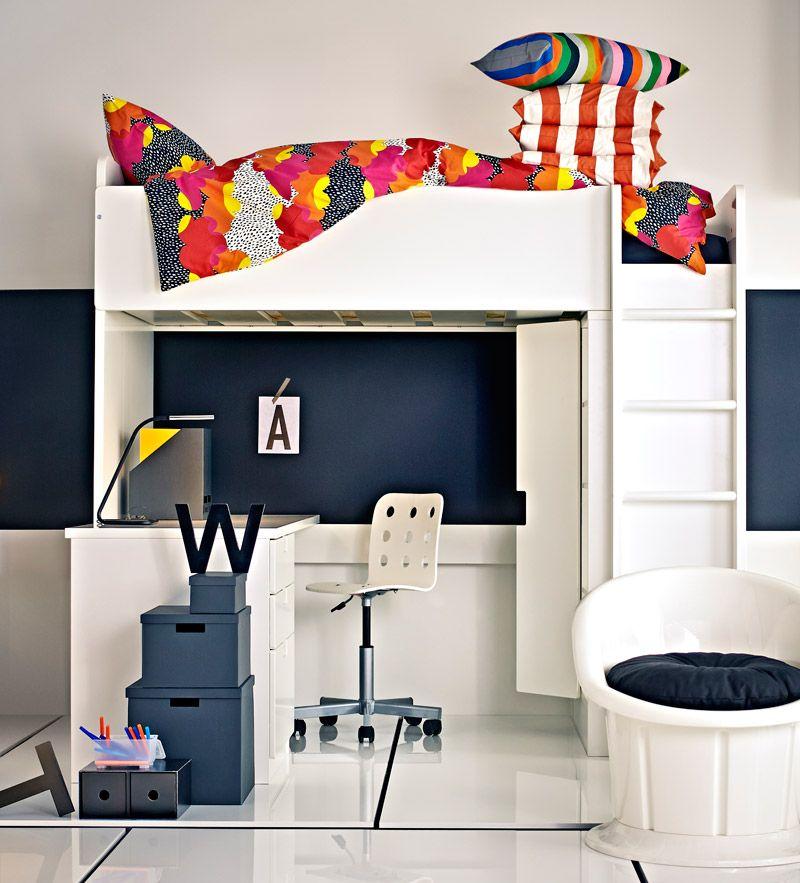 Tiny Box Room Ikea Stuva Loft Bed Making The Most Of: STUVA MALAD Loft Bed With Desk And Wardrobe By Ikea