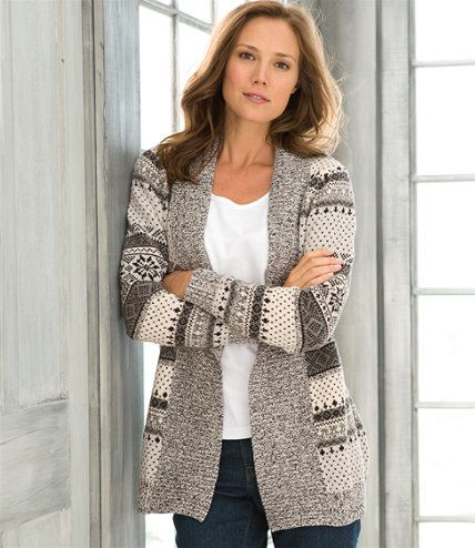 Textured Donegal Sweaters, Open Cardigan Fair Isle: Cardigans ...