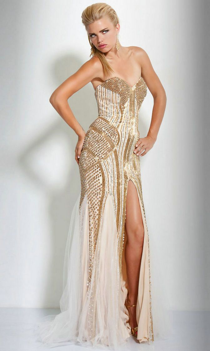 Beaded Gown Tulle Sequins Floor Length Sweetheart Strapless Natural ...