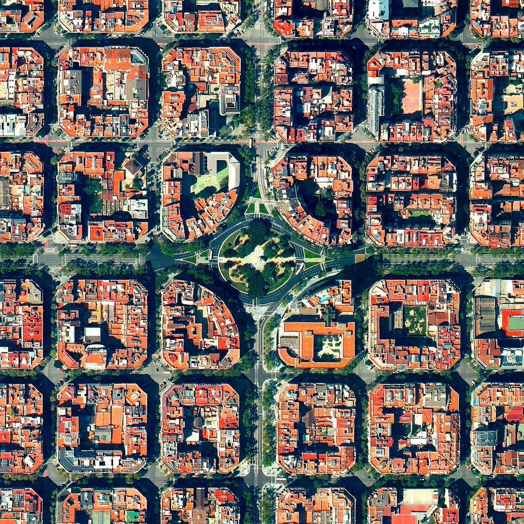 """22.8k Likes, 168 Comments - Daily Overview (@dailyoverview) on Instagram: """"Plaça de Tetuan is a major square located in the Eixample district of Barcelona, Spain. The area…"""""""