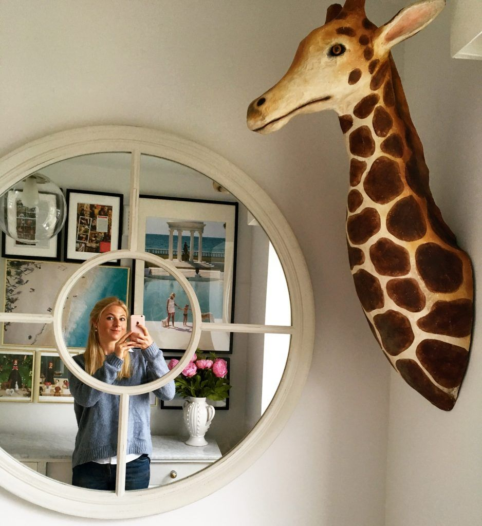 Home Office Design With Gallery Wall, Round Window Mirror And Anthropologie  Lanky Giraffe Head Wall