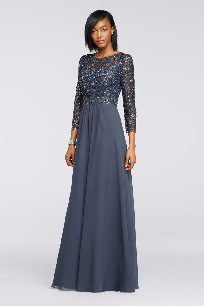 44ad10b0370 Sequin Lace Long Chiffon Mother of Bride Groom Dress with 3 4 Sleeves -  Steel (Blue)
