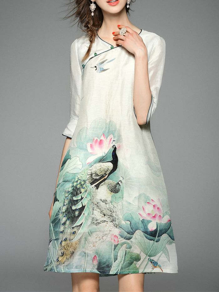 Multicolor Peacock Print Shift Dress -SheIn(abaday)