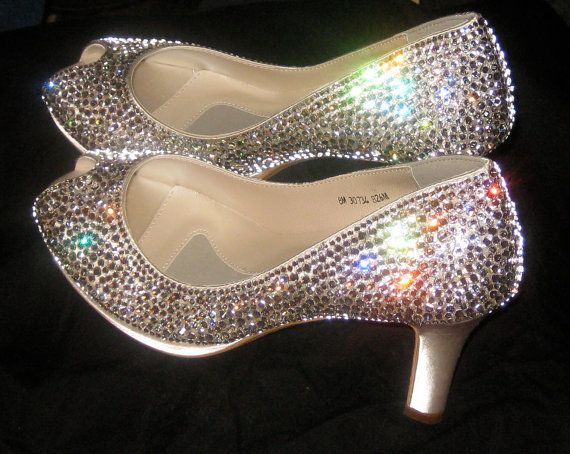 Wedding Shoes With Swarovski Crystals By Onelittleband On Etsy 335 00 One Of My Brides From This Year Did Crystal Shoes Crystal Wedding Shoes Wedding Shoes