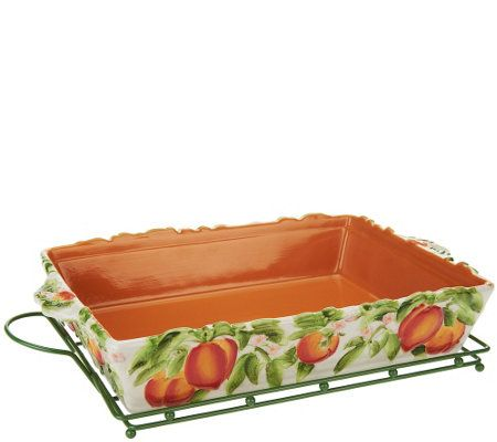 temptations kitchen accessories temp tations 13x9 figural fruit baker w lid amp wire rack 2692