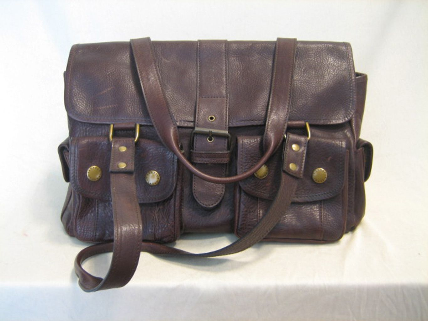 Lederen handtas van het merk Barbour / Leather Utility Brown handbag.