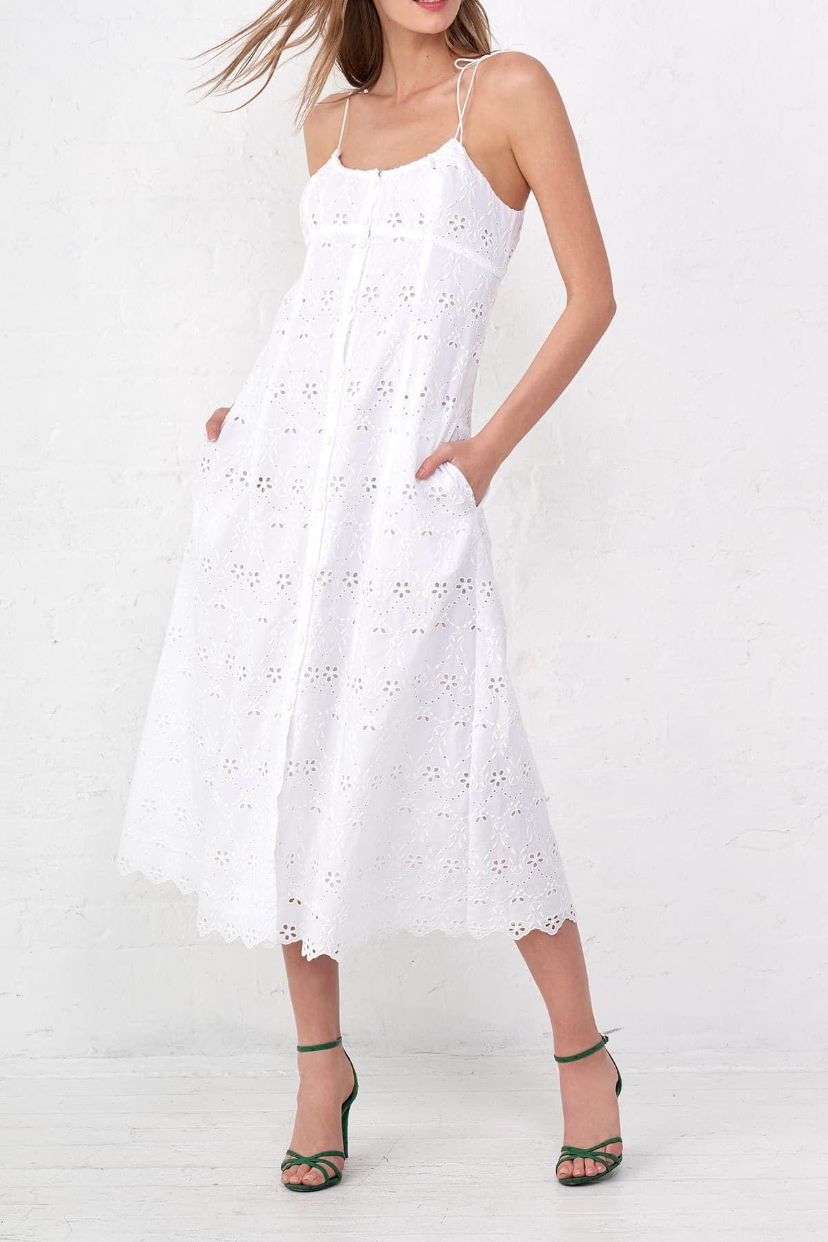 La Ligne Spaghetti Dress Nordstrom Rack In 2021 Dress Spaghetti Dresses White Eyelet Dress [ 1800 x 1200 Pixel ]