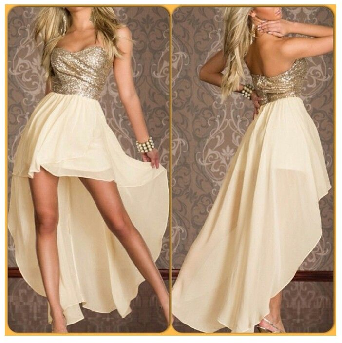 Gold high low prom dress | ☆Prom☆ | Pinterest | Prom dresses ...