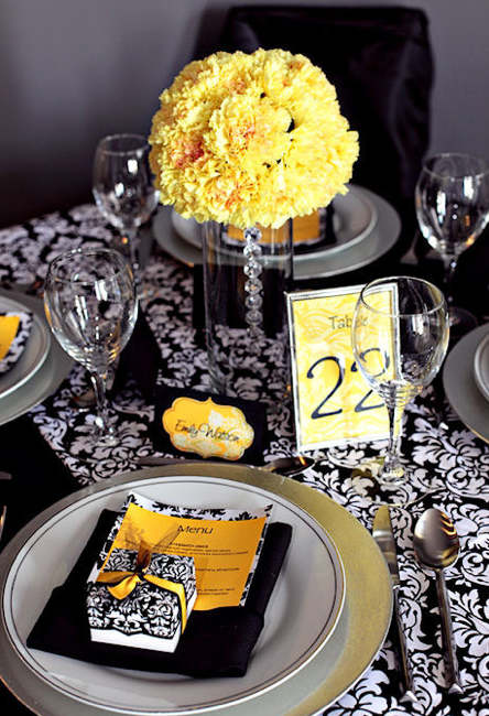Black white and yellow wedding decor ideas pinterest black black white and yellow junglespirit Image collections