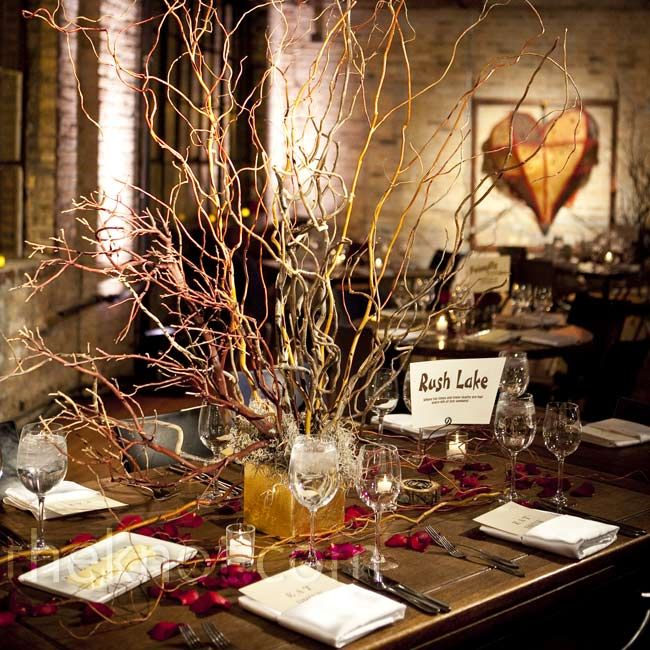 Rustic Branch Centerpiece For A Wedding Rustic Wedding Centerpieces Rustic Wedding Reception Wedding Table