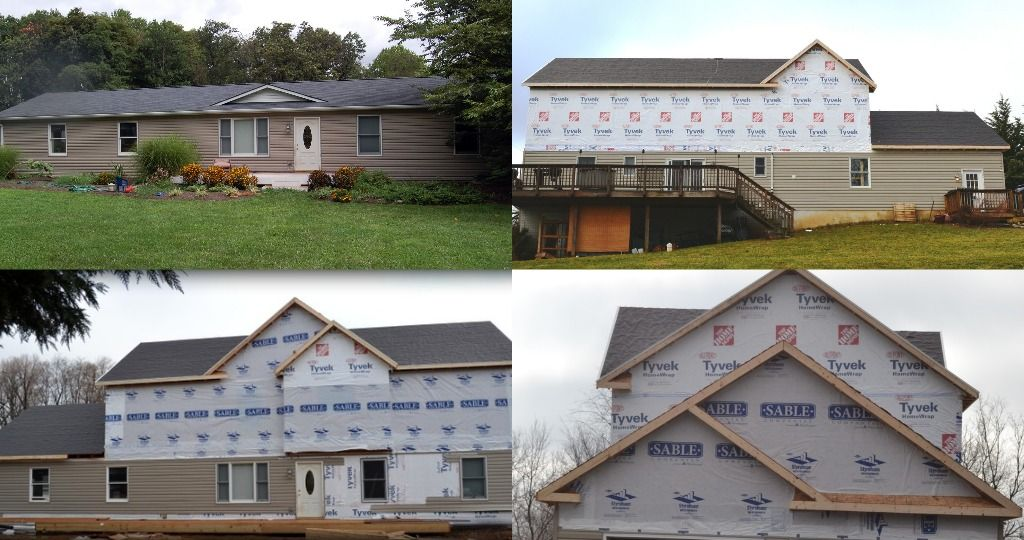 Adding Second Floor Log Cabin Renovation 2nd Story Addition Phase 1 Prevost Ranch House Additions Ranch House Remodel Ranch House Exterior