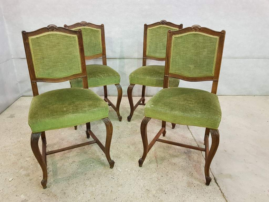 Set Of Four Antique French Square Back Oak Dining Chairs Original