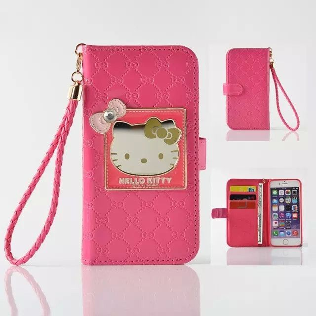 f2497bc27 Fashion Women Girl Lanyard Hello Kitty Flip Wallet Stand Leather Case For iPhone  6 6S 4.7