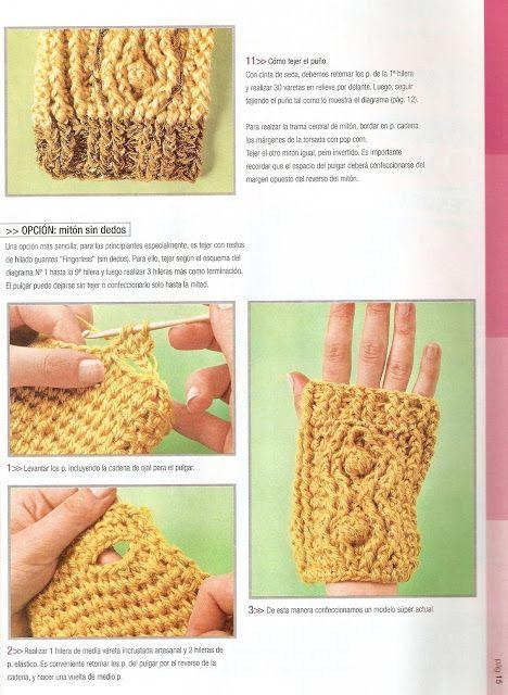 Tutorial Como hacer unos Guantes Sin Dedos - Patrones Crochet ...