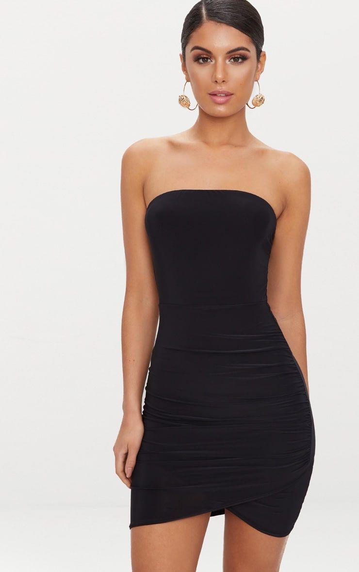 Black Bandeau Wrap Bodycon Dress Bodycon Dress Short Dresses Prom Dresses Short [ 1180 x 740 Pixel ]