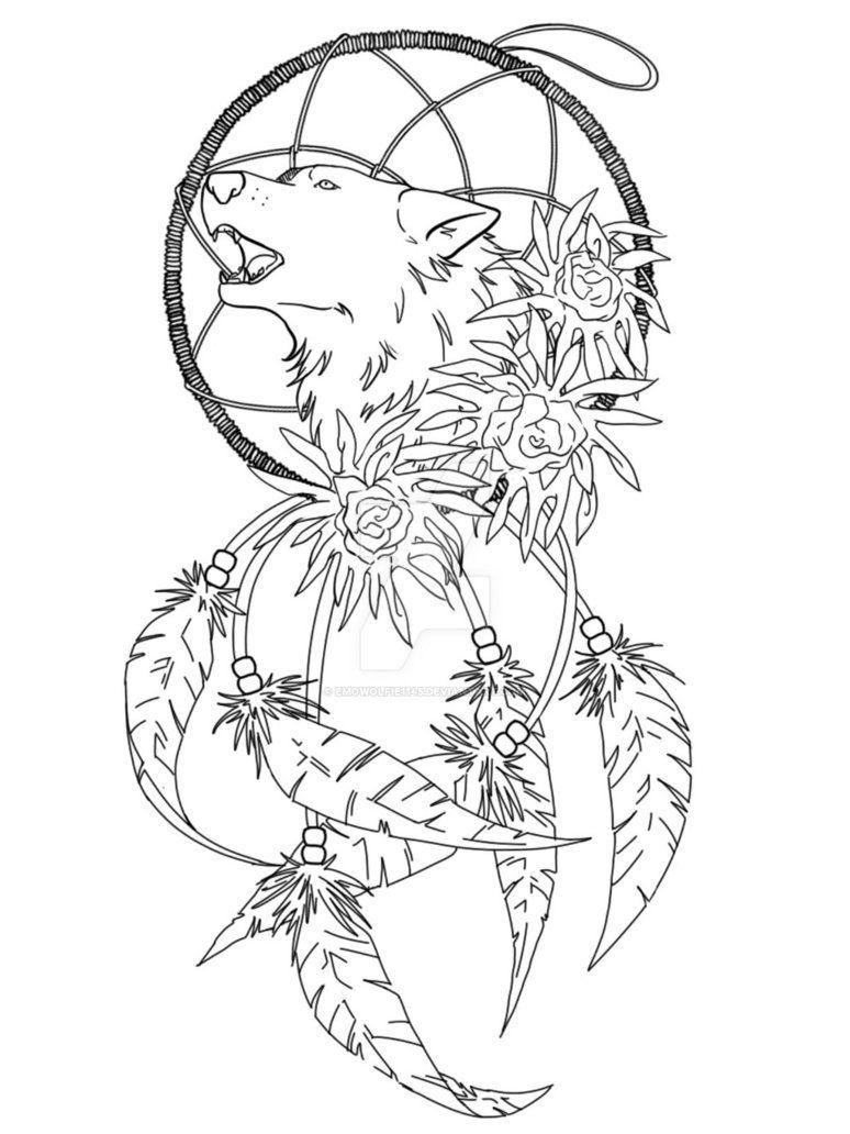 Wolf Dreamcatcher Tattoo Idea by EmoWolfie1145 on