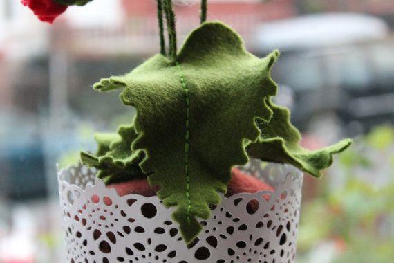Planta en maceta amapola de fieltro por MustardPotFlowers en Etsy