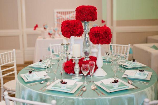 Modern Wedding Centerpieces Red Mint Green By Carissa Woo