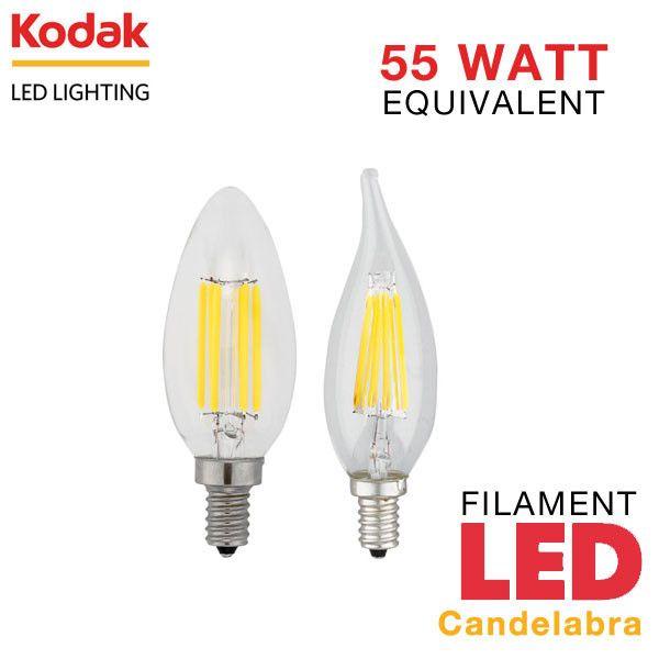 Kodak Led Filament Candelabra E12 Base 6 Watt 55 Watt Equal Dimmable Led Candelabra Bulbs Candelabra Bulbs Led