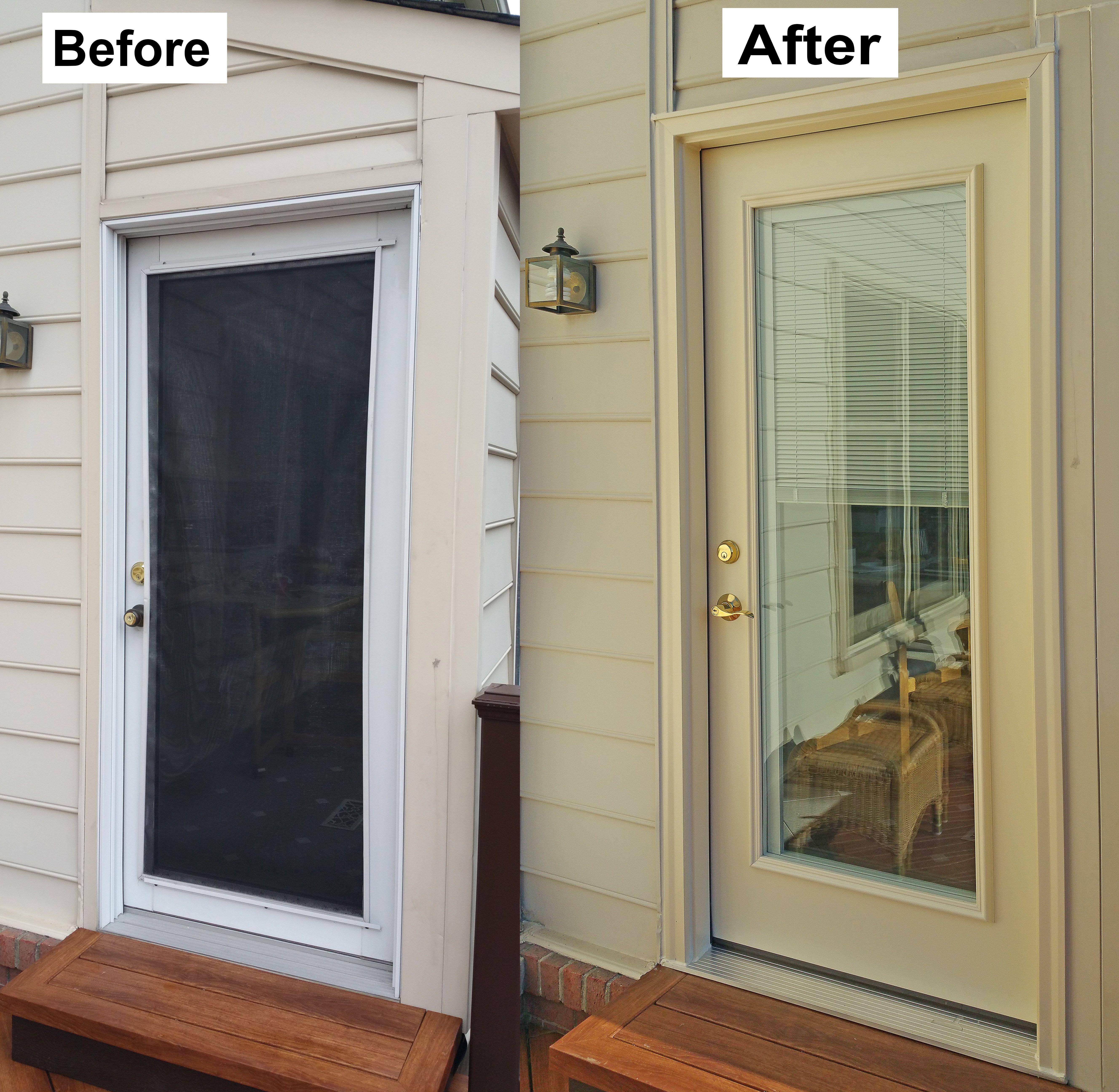 Replace Builder S Grade Single Entry Door With Provia Legacy 20 Gauge Steel Door Internal Blind Potomac Md Single Entry Doors Entry Doors Steel Doors