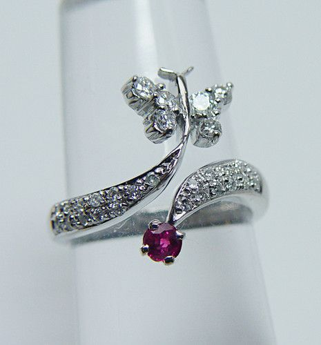 Vintage VSGH Diamond Ruby Butterfly Ring 14k White Gold Estate