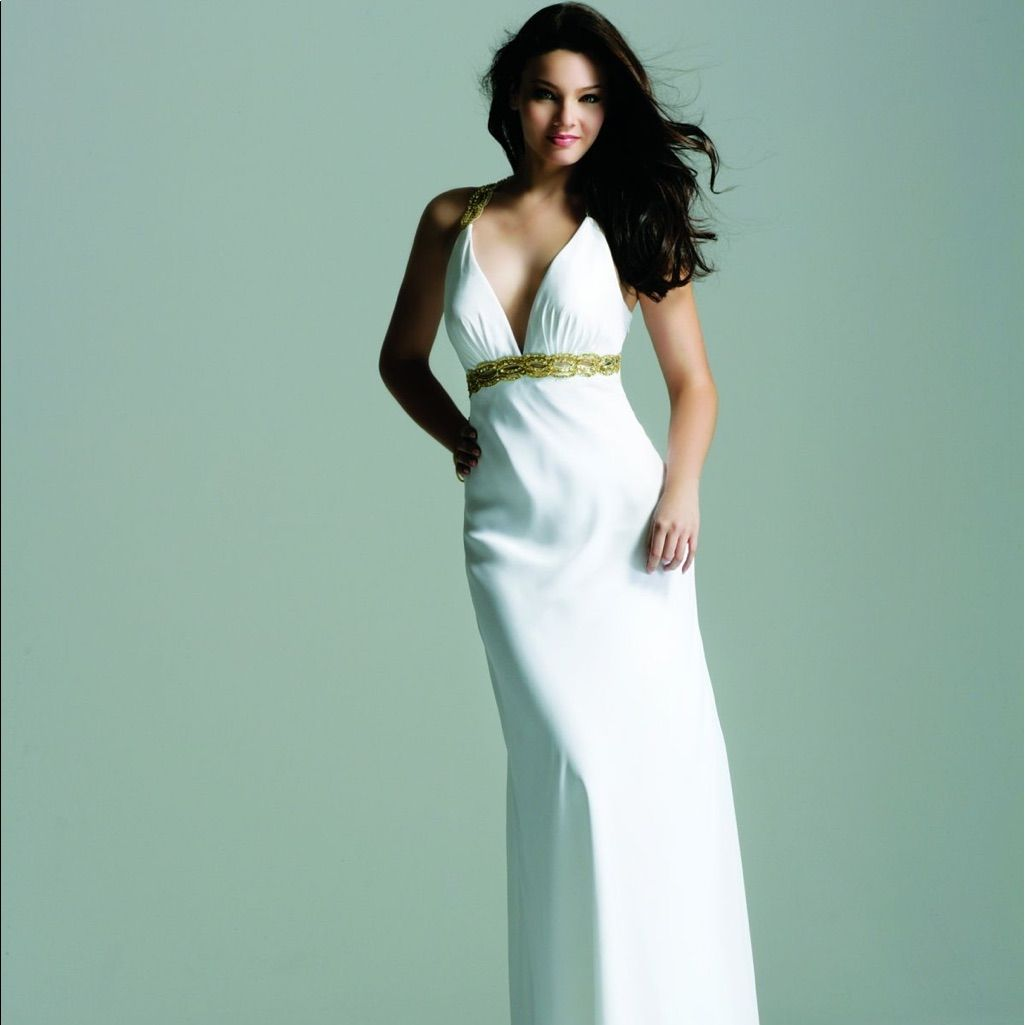 White And Gold Prom Dress | Gold prom dresses and Products